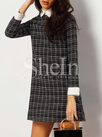 Black Plaid Contrast Collar And Cuff Tweed Dress