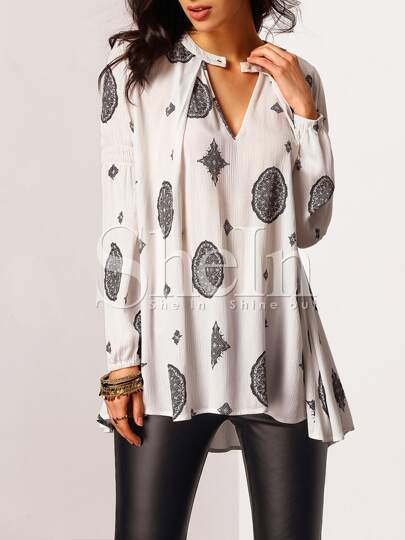 White Cut Out Front Tribal Print Blouse
