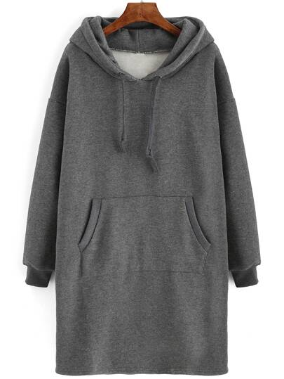 Grey Drawstring Hooded Pockets Sweatshirt Dress