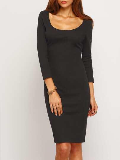Black Scoop Neck Sheath Dress