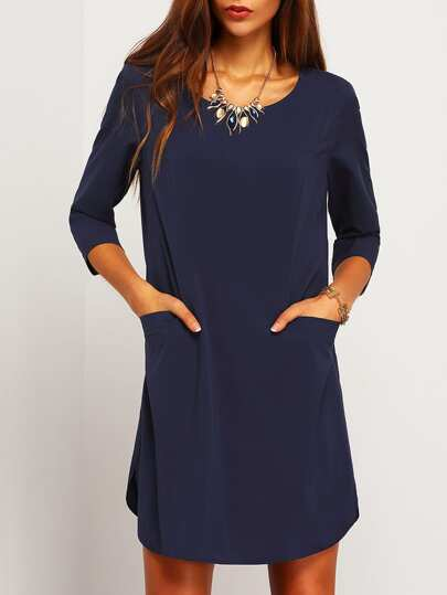 Elbow Sleeve Keyhole Back Pockets Dress