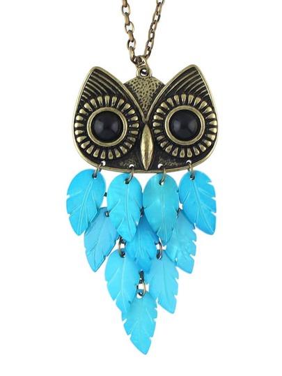 Collier vintage avec pendentif de hibou -bleu
