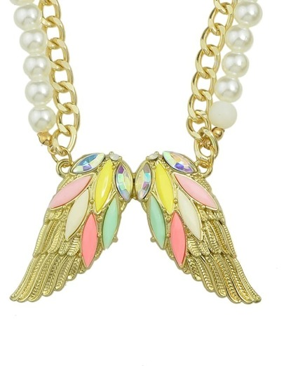 Rhinestone Wing Shape Pendant Necklace