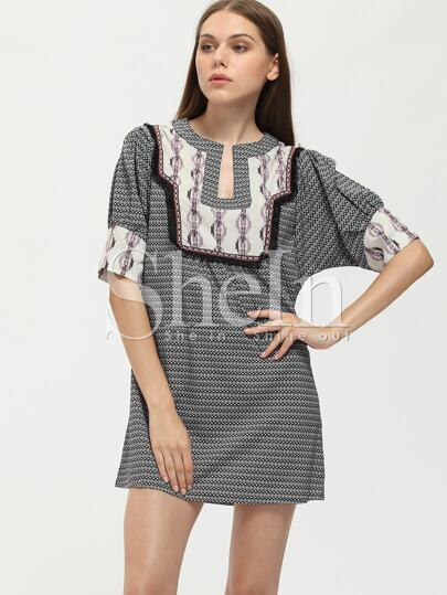 Black White Tribal Print Shift Dress