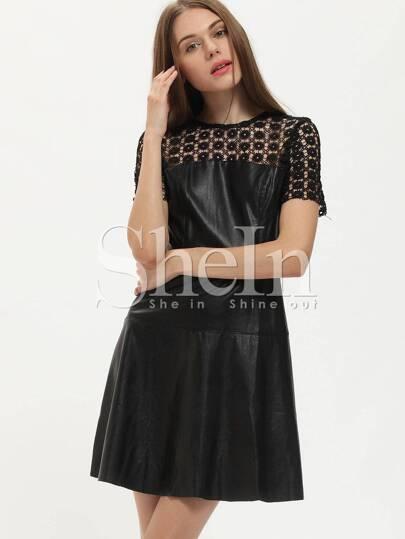 Black PU Leather A Line Dress With Lace
