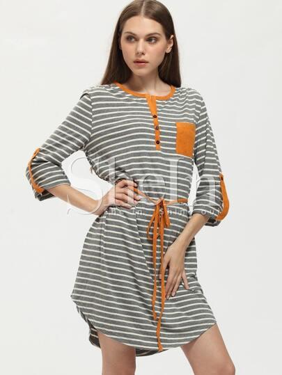 Grey Striped Color Block Trims Dress