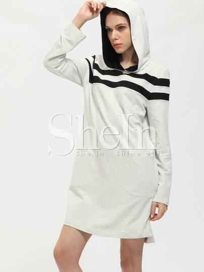 Grey Hooded Color Block Side Slit Dress