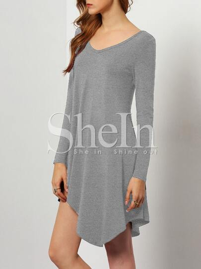 Grey V Neck Asymmetric Dress