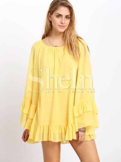 Yellow Flounce Hem Cape Dress