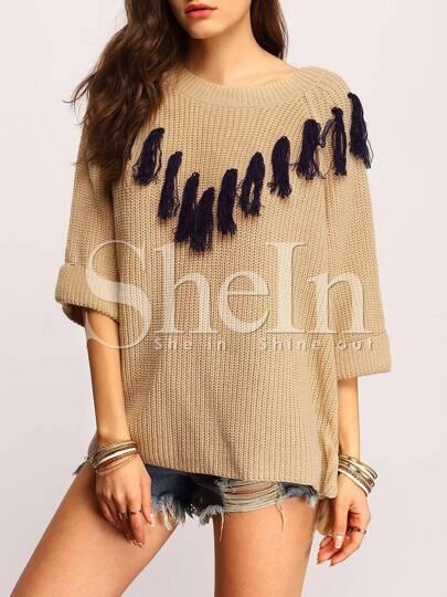 Grey Crew Neck Contrast Fringe Sweater