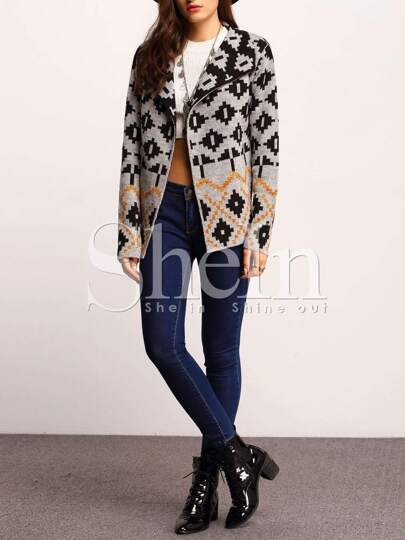 Grey Shawl Collar Tribal Cardigan