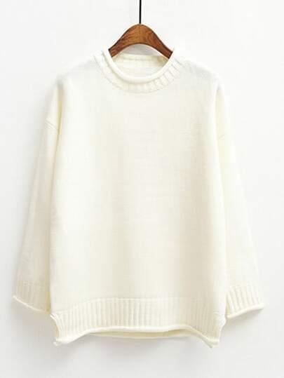 White Round Neck Crimping Loose Sweater