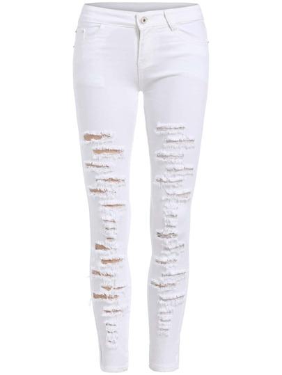 Skinny Jeans mit zerrissenen Design - weiß