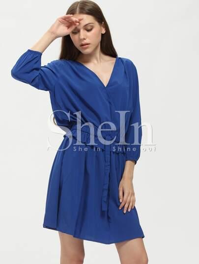Kleid mit Tunnelzug an der Taille - blau