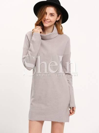 Grey High Neck Side Slit Dress