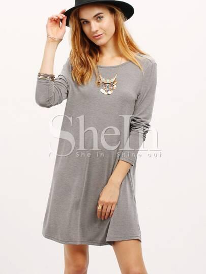 Grey V Back Shift Dress