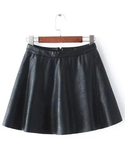 Black Flare PU Skirt