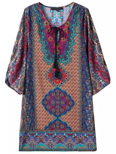 Colour Tie-neck Tribal Print Straight Dress