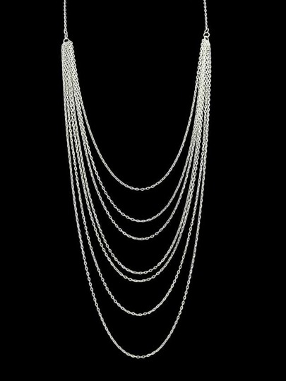 Silver Plated Alloy Multilayers Long Chain Necklace for Women