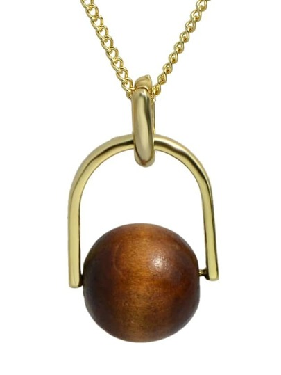 Coffee Wood Pearl Pendant Necklace