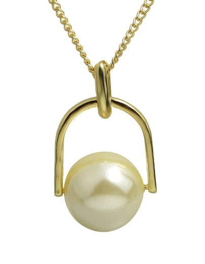 White Wood Pearl Pendant Necklace