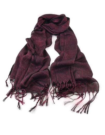 New Fashion Winered Gold Thread Soild Color Long Tassel Scarf