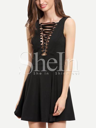 Black Sleeveless Lace Up Front Flare Dress