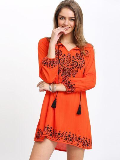 Orange Drawstring Neck Tribal Print Dress