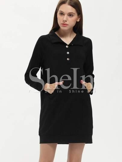 Black Embellishments Pockets Sweatshirt Dress
