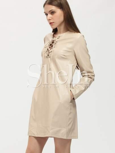 Apricot Lace Up Neck Shift Dress