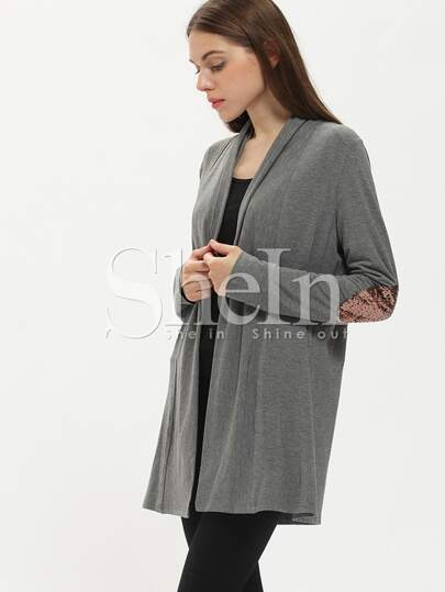 Grey Elbow Patch Sequined Coat
