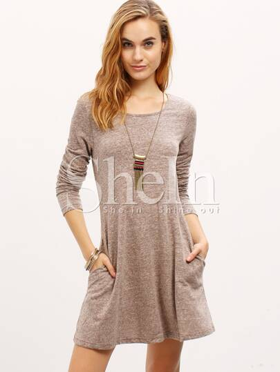 Grey Cut Out Back Shift Dress
