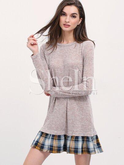 Grey Contrast Plaid Flounce Dress
