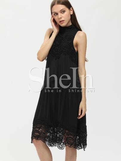 Black Crew Neck Lace Dress