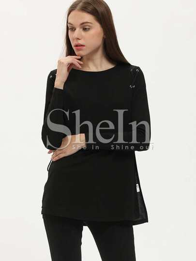 Black Lace Up Side T-Shirt