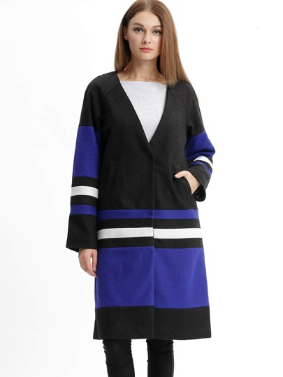 Black Color Block Duster Coat