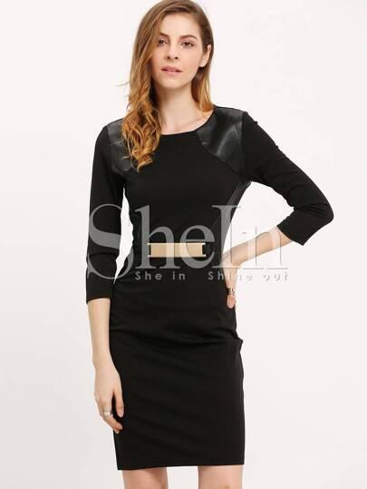 Black PU Leather Back Slit Sheath Dress
