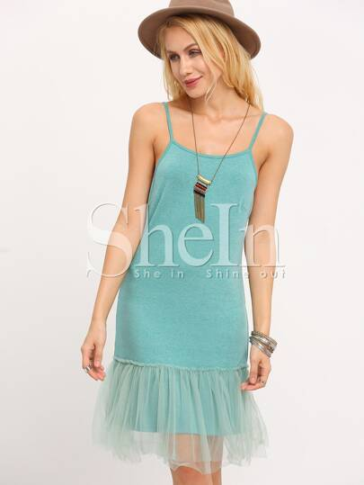 Green Spaghetti Strap Organza Hem Dress