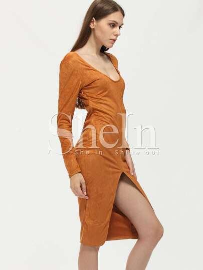 Brown Scoop Neck Slit Front Sheath Dress