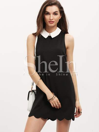 Black Contrast Lapel Sleeveless Scallop Dress