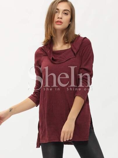 Burgundy Off The Shoulder Side Slit T-Shirt