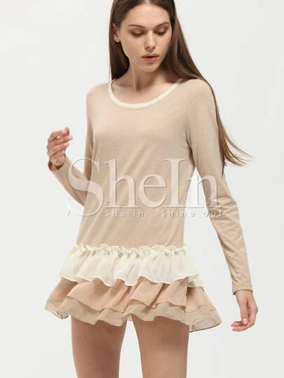 Grey Tiered Mesh Flounce Dress