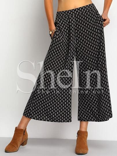 Black Tribal Print Straight Pant
