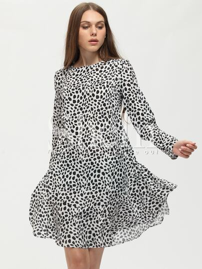 White Crew Neck Print Dress