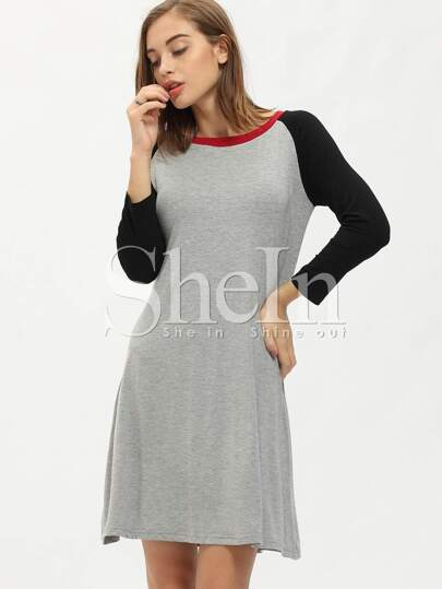 Grey Contrast Raglan Sleeve Shift Dress