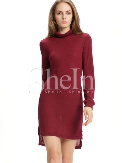 Burgundy Mock Neck Side Slit Dress