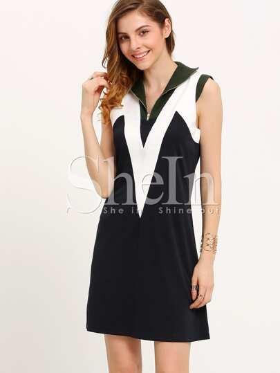 Vestido color combinado holgado -marino