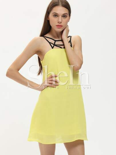 Yellow Hollow Out Shift Dress