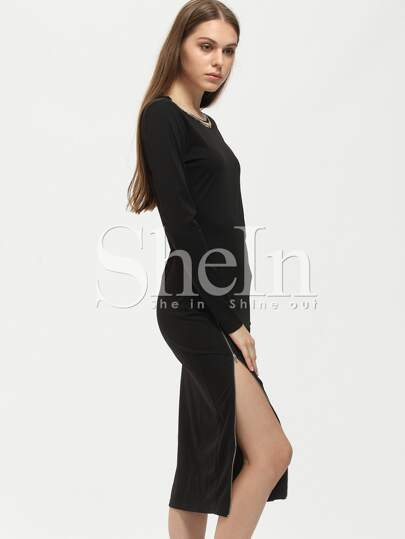 Black Crew Neck Zipper Sheath Dress