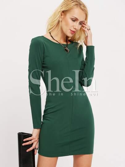 Green V Back Bodycon Dress